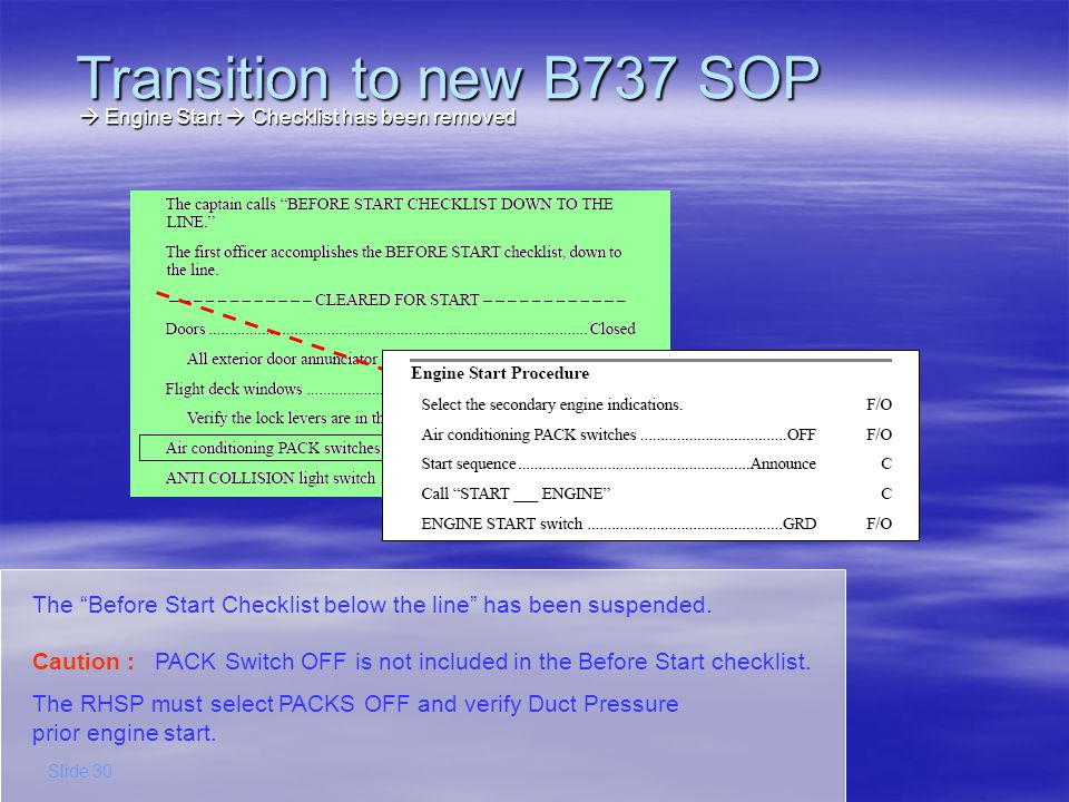 The RHSP will select the Engine Start switch to GRD, while the LHSP will position the Engine Start Lever to IDLE Transition to new B737 SOP Slide 31 Engine Start New task distribution Engine Start New task distribution The logic behind this is that each pilot operates the switch within his/her area of responsibility