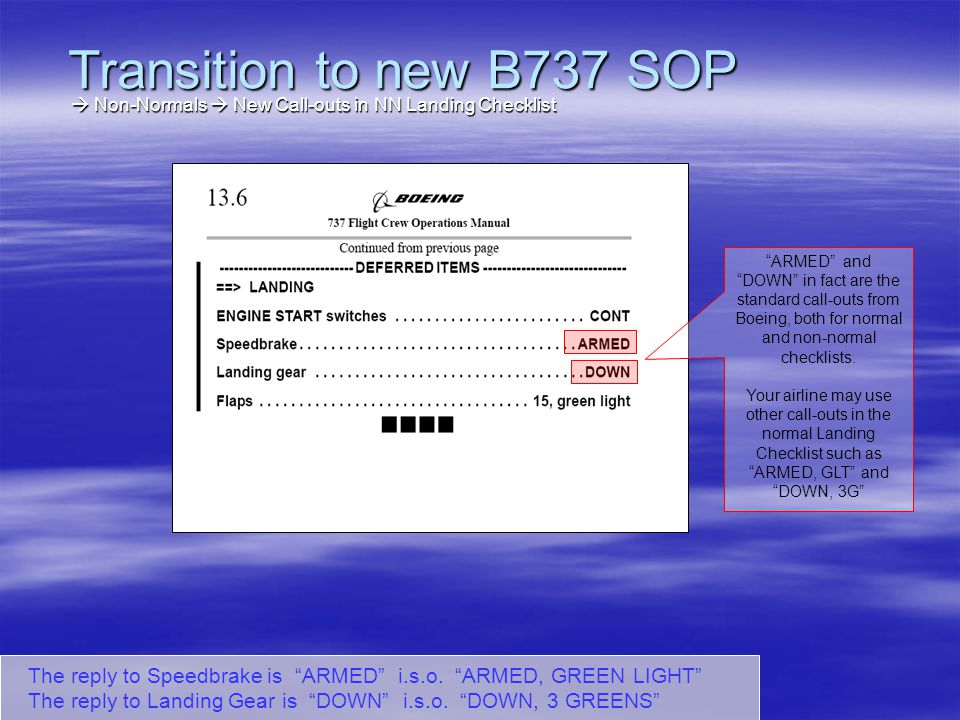 Thats all, folks Transition to new B737 SOP Slide 66 Distribution : Except for the picture on the first page, this presentation is not copyright protected.