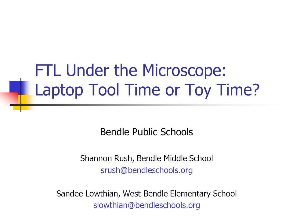 What is FTL.FTL is the Freedom to Learn program providing a wireless laptop to every student.