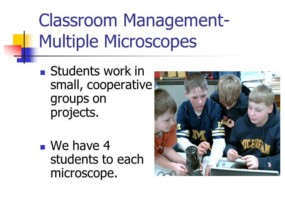Classroom Management- Single Microscope Teacher can project using a single microscope for whole group instruction.