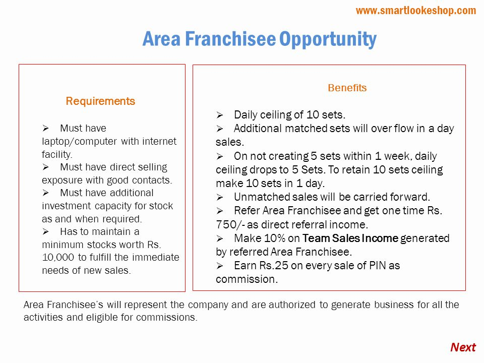 Area Franchisee Opportunity Requirements Must have laptop/computer with internet facility.