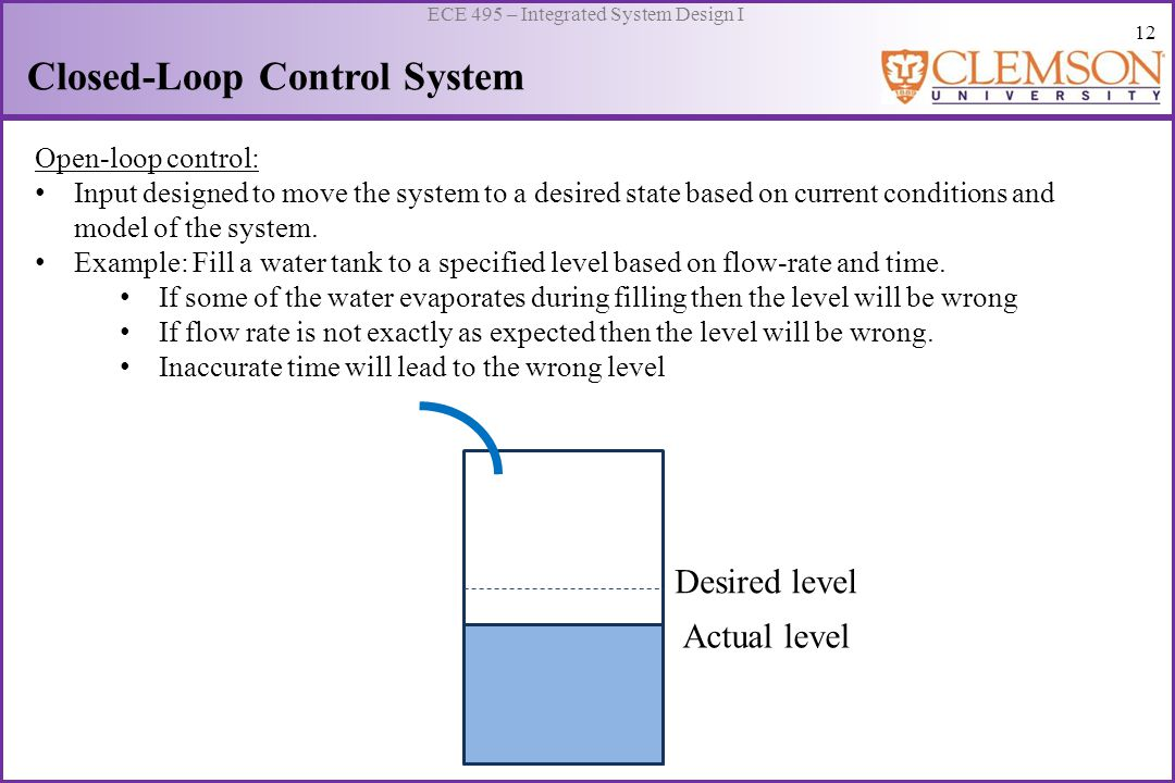 13 ECE 495 – Integrated System Design I Closed-Loop Control System Closed-loop control: Input changes as the error, difference between the desired output and the measured output, changes.