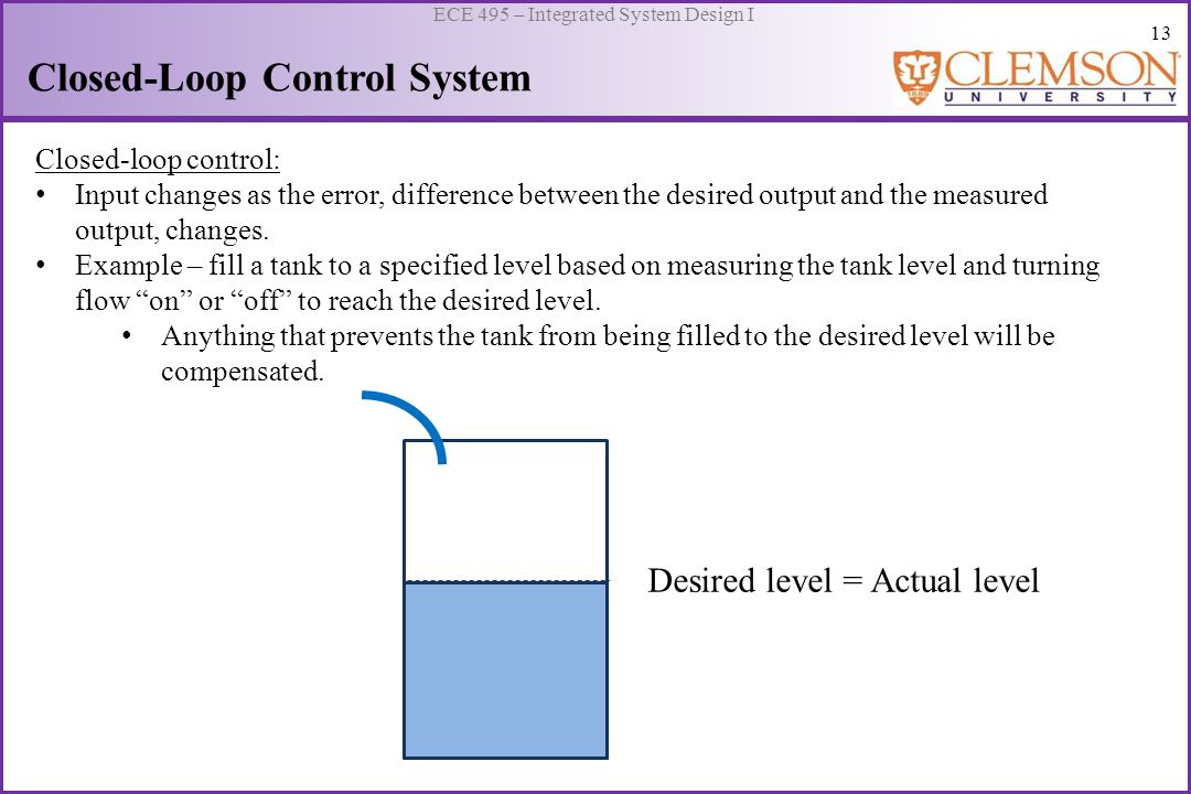 14 ECE 495 – Integrated System Design I Closed-Loop Control System System Open-loop control: Input designed to move the system to a desired state without knowing if it achieves the state Closed-loop control: Input= changes as the error based on output until a desired state is reached.