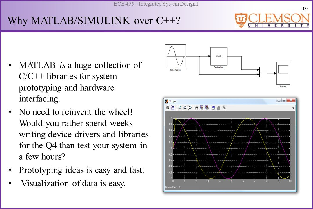 20 ECE 495 – Integrated System Design I Using C/C++ Code in MATLAB MATLAB allows the use of user defined C/C++ executables (MEX files) to augment functionality.