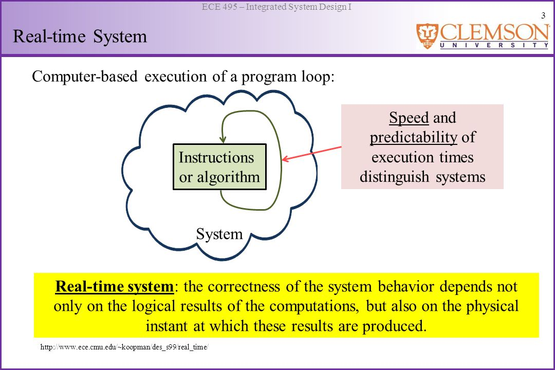 4 ECE 495 – Integrated System Design I Classification of Real-time Systems http://www.ece.cmu.edu/~koopman/des_s99/real_time/ Real-time System SoftHard Dynamic Static System must remain synchronous with the state of the environment.