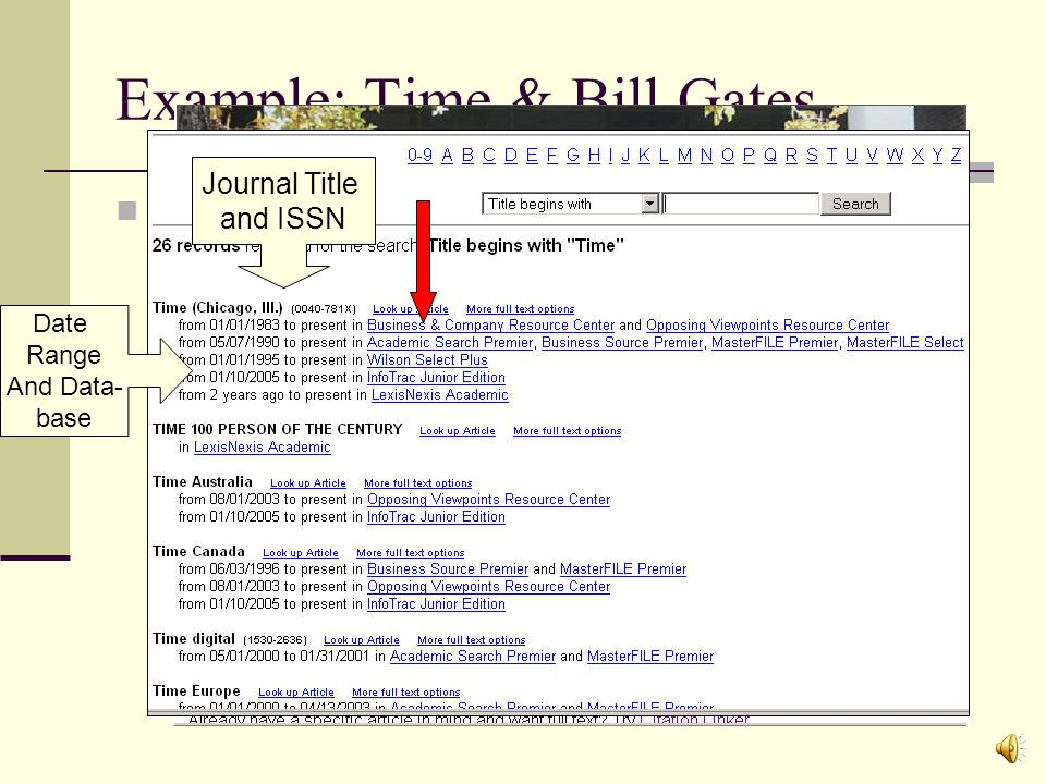 Example: Time & Bill Gates I want to find any articles about Bill Gates that were featured in Time magazine.