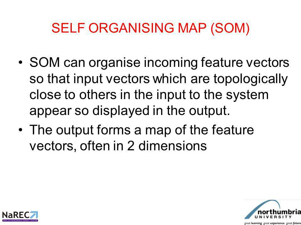 SELF ORGANISING MAP (SOM) Big advantage: Similar feature vectors are located adjacent to each other on the SOM.
