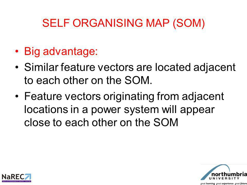 SELF ORGANISING MAP (SOM) SOM will locate feature vectors similar to those it is trained with, and locate them in an appropriate location.