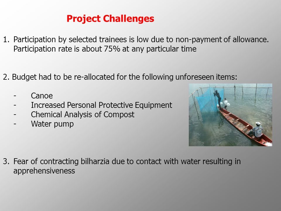 Project Challenges 5.Poor monitoring of integrity of fish pens to ensure that fishes do not escape.