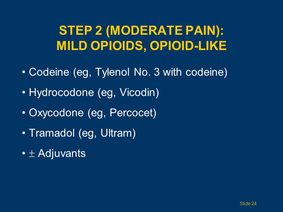 STEP 3 (SEVERE PAIN): STRONG OPIOIDS Morphine Oxycodone Hydromorphone (Dilaudid) Fentanyl Oxymorphone Methadone Adjuvants Slide 25