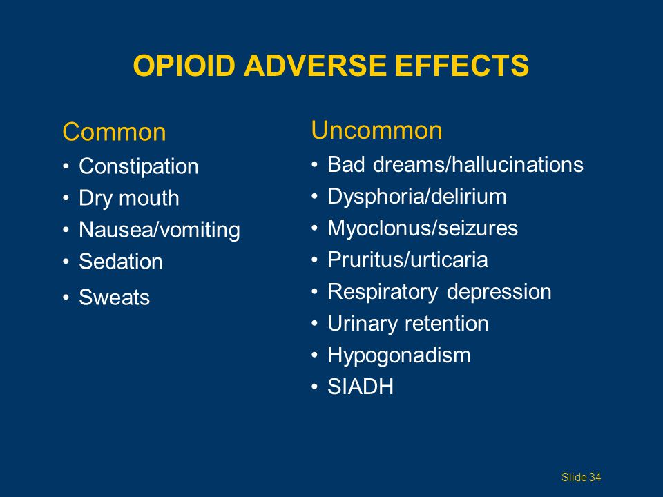 GI SIDE EFFECTS OF OPIOIDS Constipation Never resolves Prevent with scheduled softeners plus stimulants Avoid bulking agents (eg, Metamucil) Nausea and vomiting Encourage patients to eat frequent, small meals Treat with: Pro-motility agents (metoclopramide) Serotonergic blocking agents (odansetron) Dopaminergic blocking agents (haloperidol, metoclopramide, prochlorperazine) Slide 35