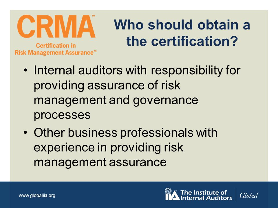 www.globaliia.org The 5 Domains Domain 1 - Assessing / Assurance of Risk Management Activities Domain 2 - Risk management Fundamentals Domain 3 - Elements of Risk Management Domain 4 - Control Theory and Application Domain 5- Business Objectives and Organizational Performance