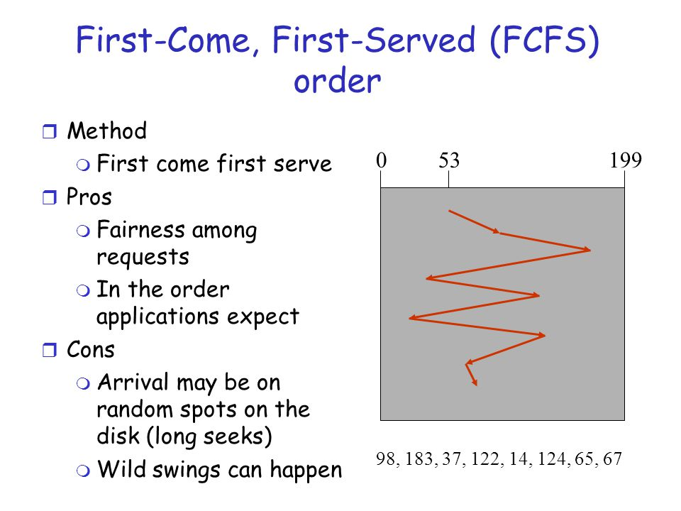 SSTF ( Shortest Seek Time First ) r Method m Pick the one closest on disk m Rotational delay is in calculation r Pros m Try to minimize seek time r Cons m Starvation r Question m Is SSTF optimal.