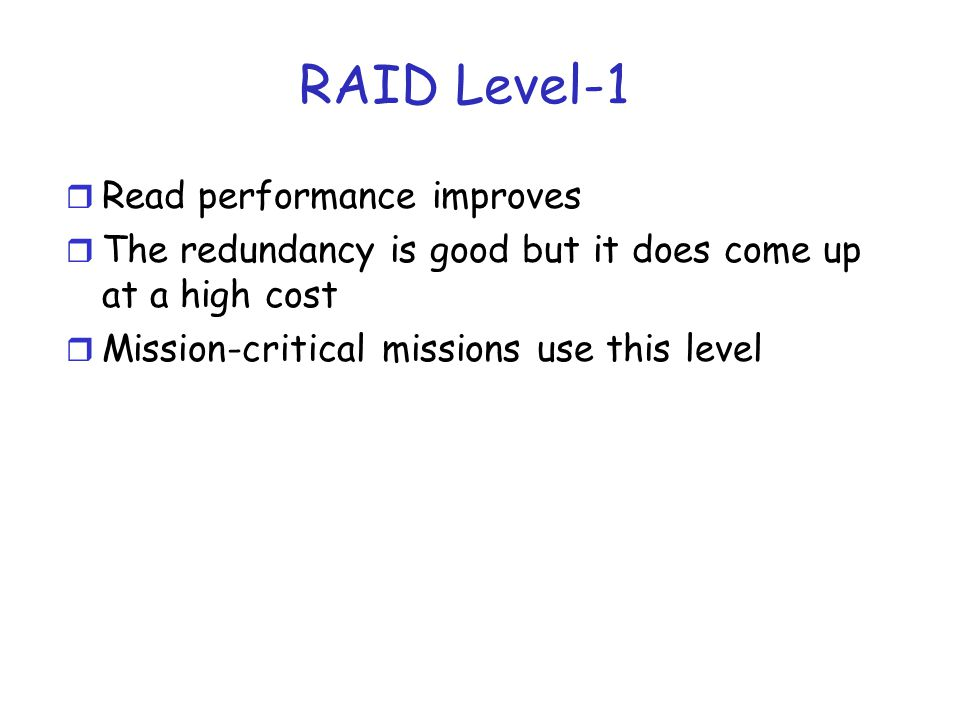 RAID Level 2 r The basic idea is to add check bits to the information bits such that errors in some bits can be detected, and if possible corrected.