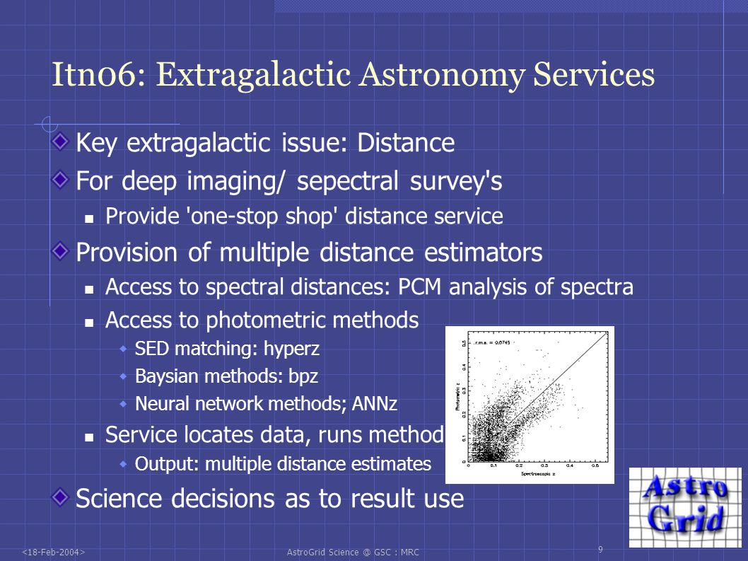 AstroGrid Science @ GSC : MRC 10 AstroGrid and the AVO: 1 st Science AstroGrid science a major input into the AVO 04 demo Hi redshift universe science Leverage of mainstream AstroGrid project deliverables Object extraction service Statistical service (redshift determination) Data localisation (registry service) Workflow capabilities Utilisation of AVO deliverables by the UK community Inclusion in the beta testing programme