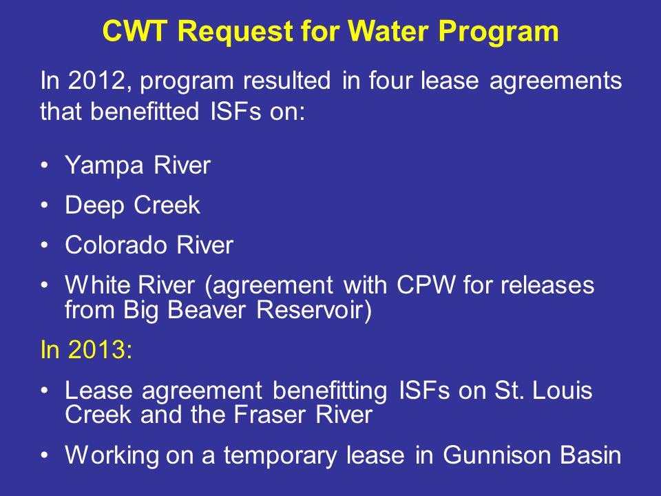 Permanent Water Acquisitions for ISF Use Carbon Lake Ditch (Mineral Creek and Big Horn Gulch) Peabody Ditch (Moser) (Boulder Creek and Blue River) Stapleton Brothers Ditch Maroon Creek and RF River (pending in water court)