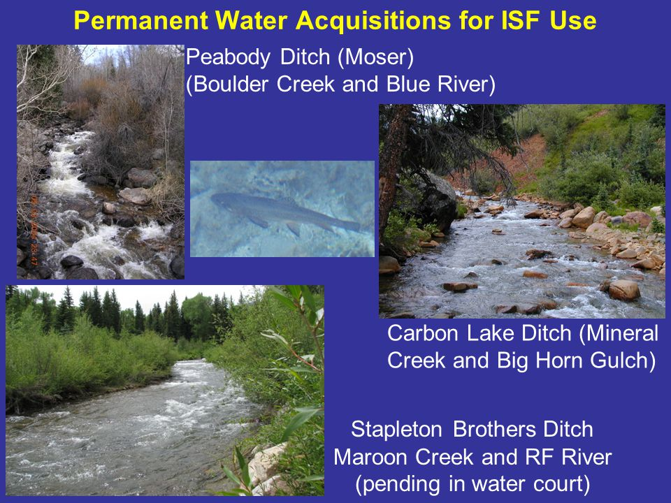 ISF water rights as a tool in developing alternatives to Wild & Scenic designation ISF water rights can –provide permanent protection of flow-related Outstandingly Remarkable Values (ORVs) –through a decreed water right administered within Colorados priority system As part of an alternative management plan accepted by feds, ISFs could eliminate potential for a federal water right on the subject stream reach.