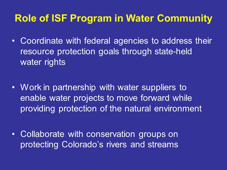 1980 – Windy Gap Project ISF appropriations on the main stem of the Colorado River –Protected flows downstream from Windy Gap Reservoir –Integral part of Northern WCDs settlement with Middle Park water users