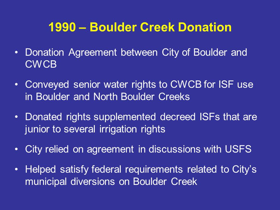 1992 – 15 Mile Reach ISF USFWS recommendation to maintain and enhance Colorado pikeminnow habitat and contribute to sufficient progress under the Recovery Program Seasonal ISF of 581 cfs July – September (reduced from FWS recommendation of 700-1,200 cfs)