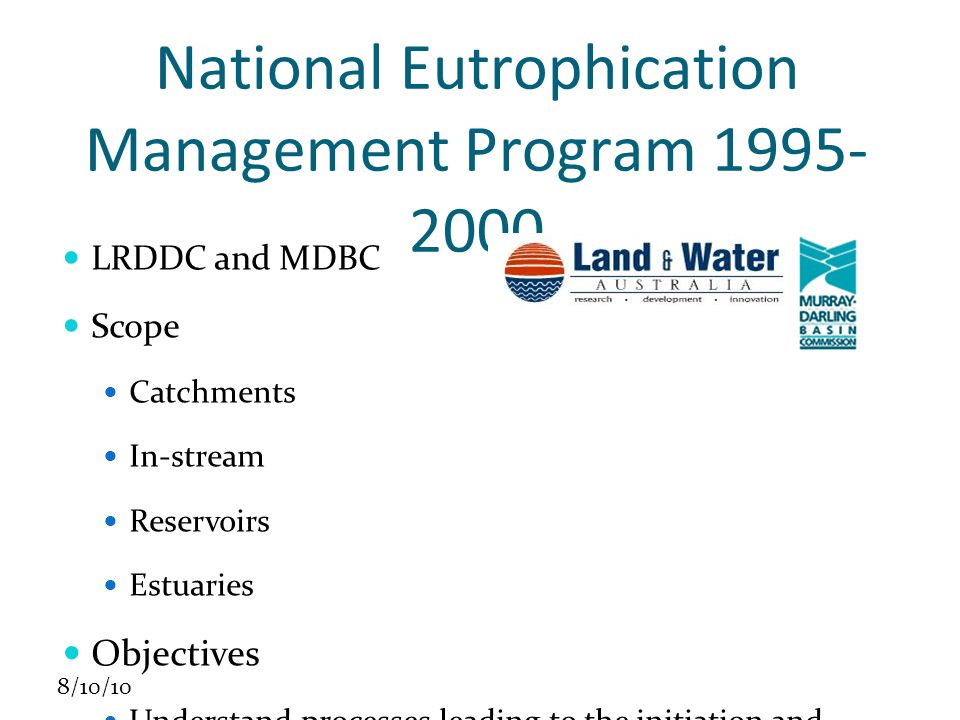 8/10/10 NEMP Structure Management Committee Manager: Nick Schofield Focus catchments Wilsons Inlet Upper Namoi Fitzroy (Qld) Goulburn-Broken 39 projects $2m from funders ($4m total)