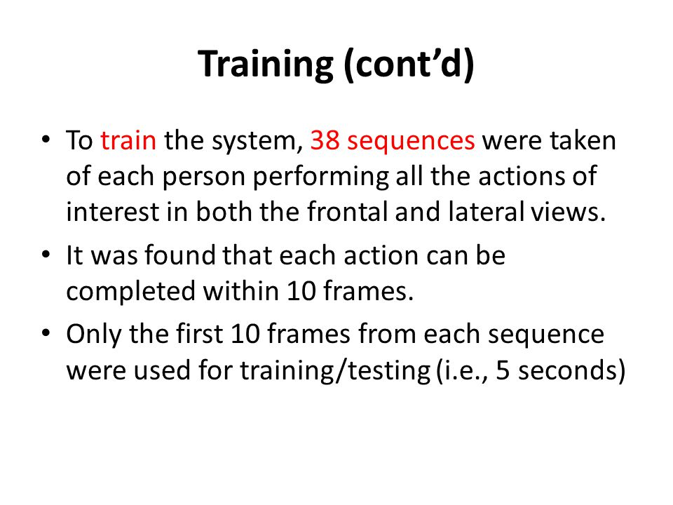 Testing For testing, 39 sequences were used.Of the 39 sequences, 31 were classified correctly.