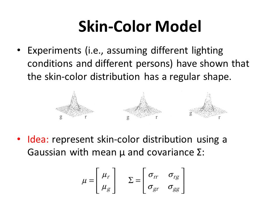 Parameter Estimation Select skin-color regions from a set of face images.