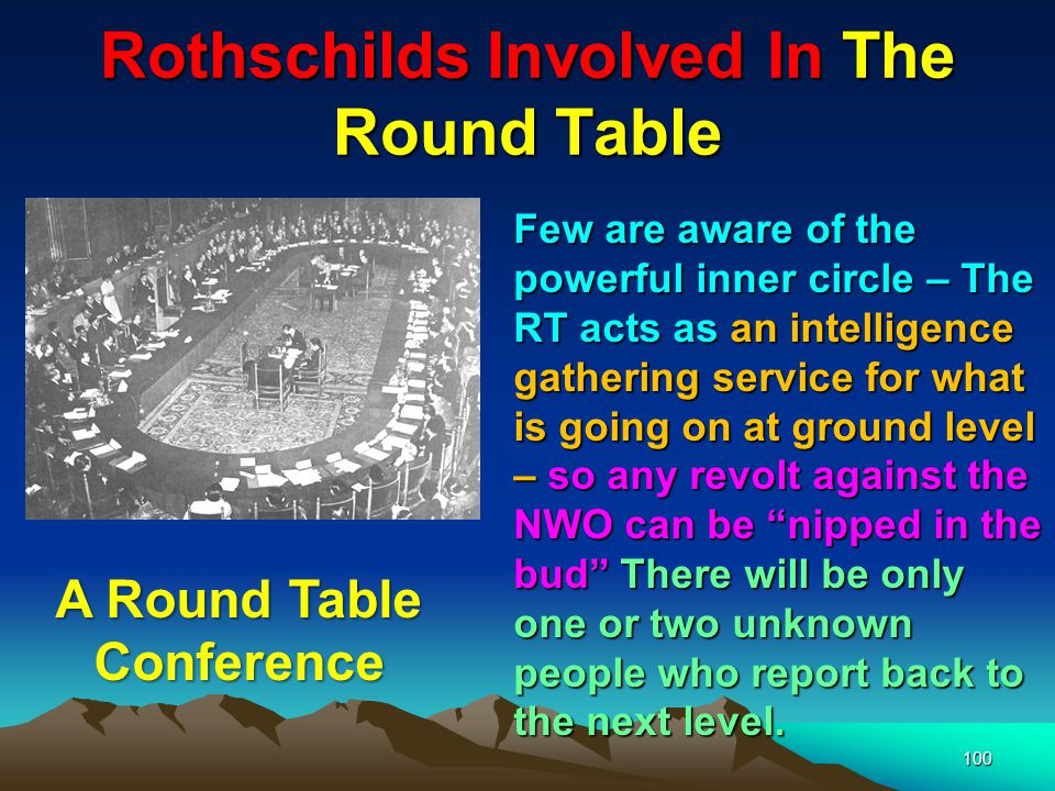 101 Rothschilds Involved In The Round Table Like all Illuminati organisations – The Round Table has an impeccable front raising money for local good causes – alluding to the knights of King Arthur s Round Table seen here at Winchester.