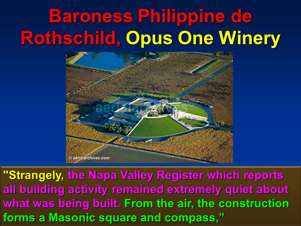 179 Baroness Philippine de Rothschild, Opus One Winery The logo of Opus One is the two-headed Janus or the spirit who divides, the symbol being an important part of Illuminati mind control.