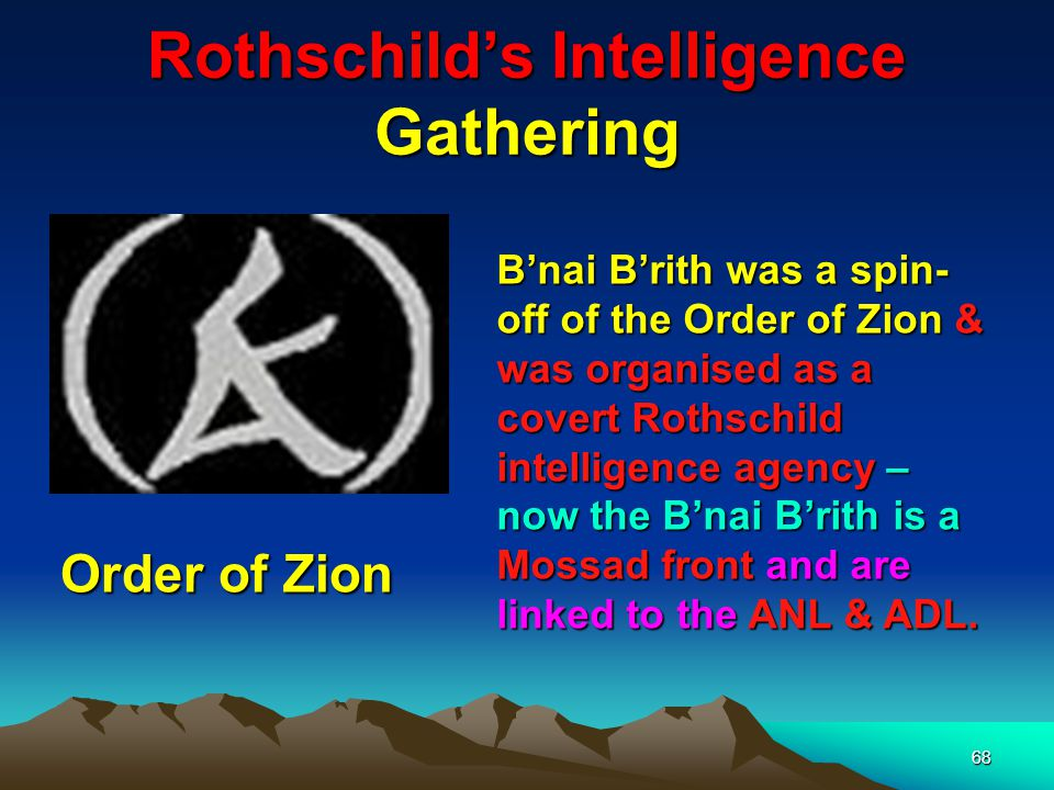 69 Rothschilds Intelligence Gathering The British Intelligence Agency MI6 is believed to be under the control of the Rothschilds – hence the 6 – code for the Star of David – If you are wondering about MI5 – then 5 represents the 5 pointed star of the Idumeans as seen on the old Soviet flag – Note as yet there is no MI 1,2,3 or 4.