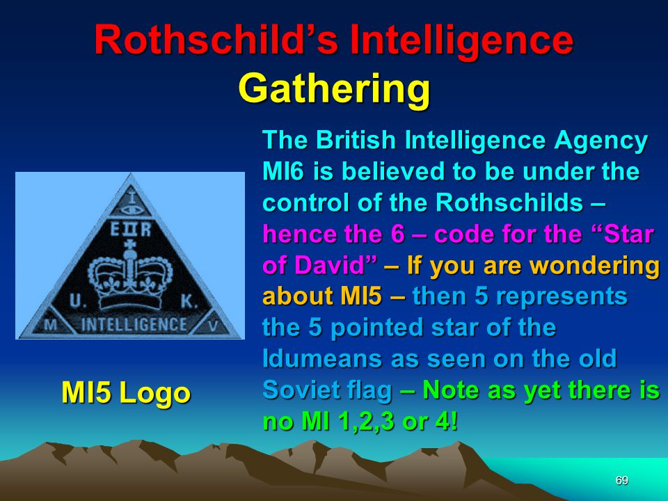 Rothschilds & The Intelligence Services 70 MI6 – Headquarters Vauxhall Churchill (during the war years) sacked the then patriotic head of Intelligence and it was subsequently taken over by Communist (Rothschild) agents.
