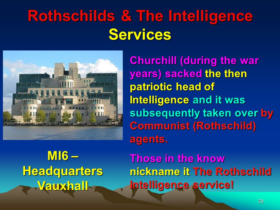 Rothschilds & The Intelligence Services 71 MI6 Logo In conjunction with their efficient postal service the Rothschilds had their own private intelligence service.