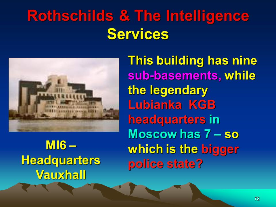 73 Rothschilds & The Intelligence Services MI5 Building Opposite side of the river to MI6 – Headquarters Note also the appellation of 5 to MI (Military Intelligence) – 5 alludes to the 5 pointed Idumean Star.
