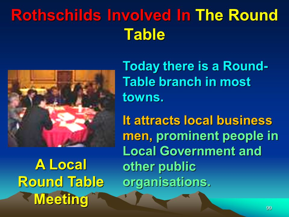 Rothschilds Involved In The Round Table 100 Few are aware of the powerful inner circle – The RT acts as an intelligence gathering service for what is going on at ground level – so any revolt against the NWO can be nipped in the bud There will be only one or two unknown people who report back to the next level.