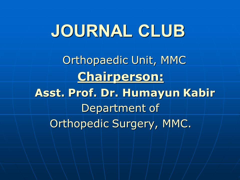 Speaker: Dr. Md. Tariqul Islam (D-Ortho Resident) (D-Ortho Resident)