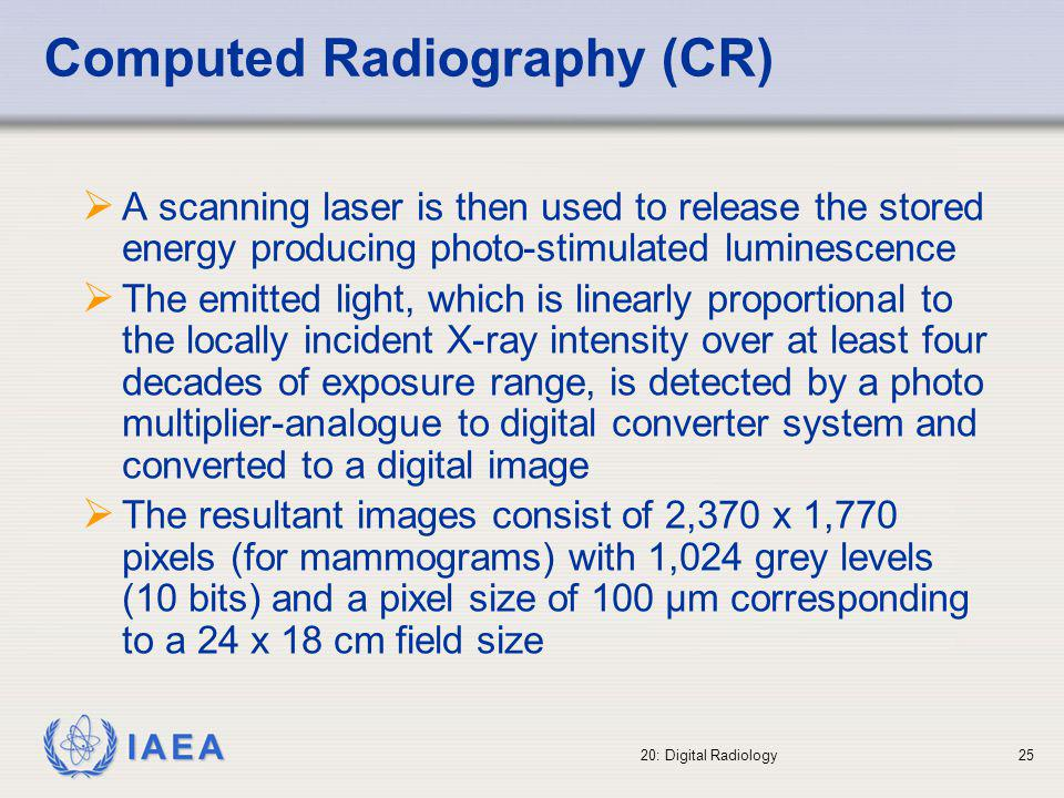 IAEA 20: Digital Radiology26 The principle of PSP ExcitationStorageEmission CB Trap ADC PMT