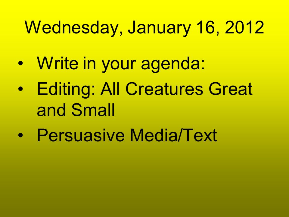 All Creatures Great and Small Editing Wednesday: Capitalization- 10 Language Usage-1 Commas-5 Periods-5 Spelling-1 Title-1