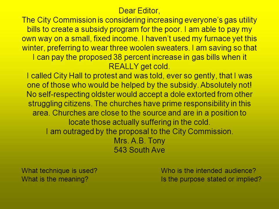 Dear Editor, The City Commission is considering increasing everyones gas utility bills to create a subsidy program for the poor.