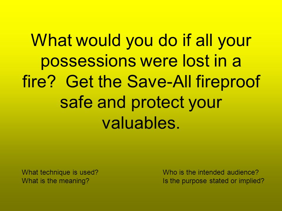 What would you do if all your possessions were lost in a fire.
