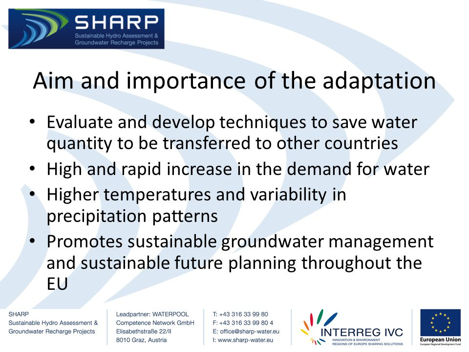 Malta No surface waters of economical importance Groundwater (44%) and Desalination process (56%) 4 out of 15 groundwater bodies classified as at risk of failing to achieve the WFDs due to groundwater quantity Both Mean Sea Level Groundwater Bodies yield 66% of the total groundwater extracted in the country Annual abstraction exceeding the mean annual recharge Source: MRA, 2011