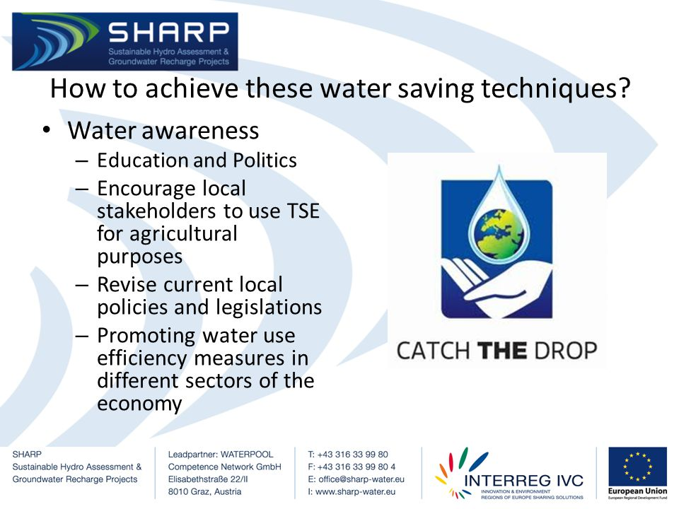 Water Price – Enforce new legislations on boreholes to meter the quantity of water extracted from each borehole – Increase control on urban water demand through tariffs – Monitor and conduct frequent spot checks to minimise water theft and billing anomalies – Minimise water network leakages such as service-pipe leakages through better infrastructural techniques