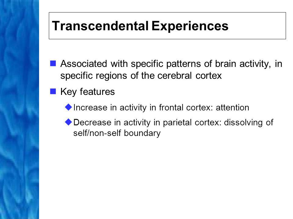 Frontal Cortex: Attention Meditation begins with the intent to practice followed by a re-focusing of the attention The intention of the practitioner to sit meditate triggers thalamus to re-focus the the attention either inwards or outwards Focused attention acts to clear the mind through redundancy Reflected in increase in activity in frontal cortex