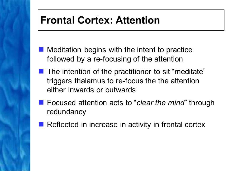 Parietal Cortex: Orientation Meditative practice associated with dissolving of self/non-self boundary Meditation involves decrease in activity in region of brain that constructs our self/non-self boundary, in both the left and right hemisphere This decrease can partially explain the expansion of awareness that can be experienced during meditation