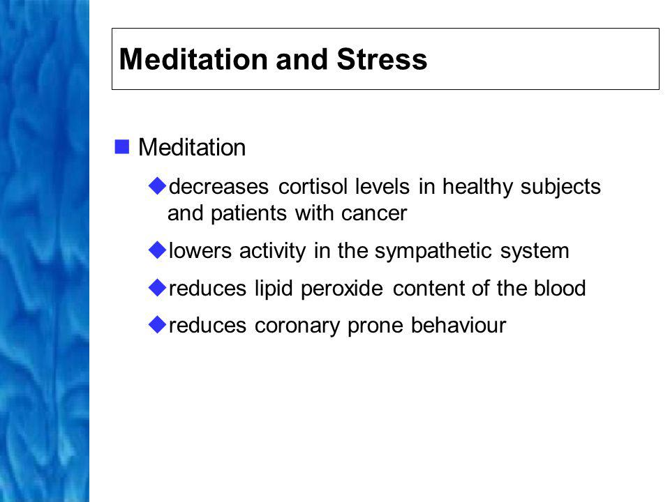 MBSR and Stress MBSR investigated in a wide range of patients (pain, cancer, heart disease, depression, and anxiety) Overall, studies indicate MBSR is effective method of stress reduction associated with benefits in terms of overall health and the ability of these patients to cope with their condition