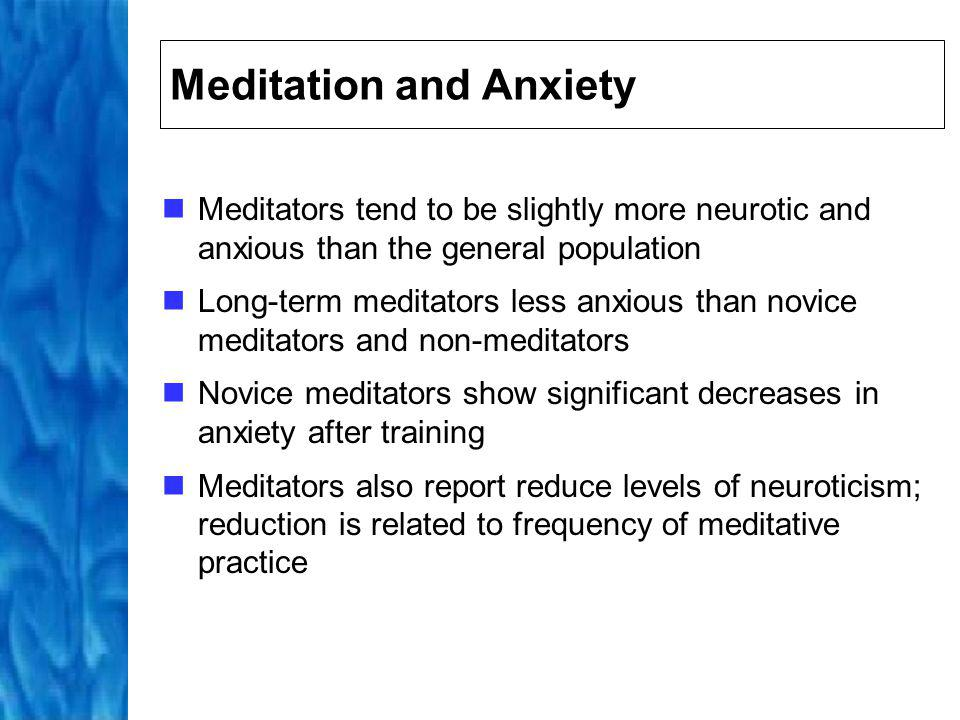 Meditation and Addiction Meditation plays important role in treatment of addictive behaviour Meditation reduces alcohol and nicotine consumption and use of illegal substances, tranquillizers, prescribed medications, and even caffeine These reductions suggest decreased reliance on external means of altering the physical and mental state reflects reduction in attention given to the intrusive thoughts that elicits desire to consume addictive substance
