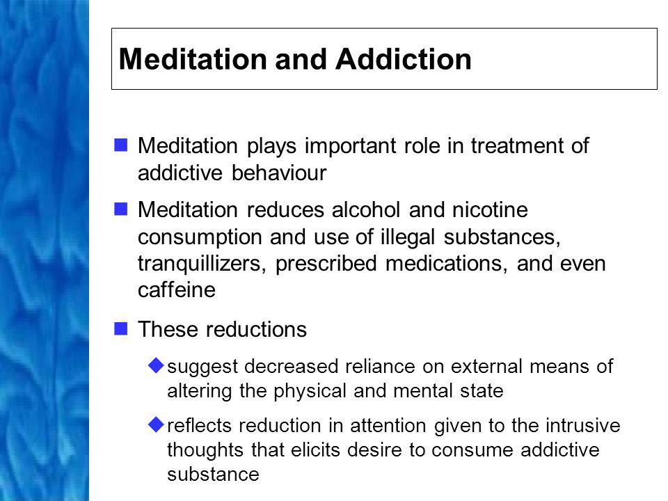 Meditation and Coping Strategies Promising supportive intervention for patients who need to learn coping mechanisms for chronic pain Mindfulness of movement produced improvements in symptoms in patients with multiple sclerosis Reduces psychological distress in patients with variety of chronic physical or psychosomatic disorders, including chronic fibromyalgia