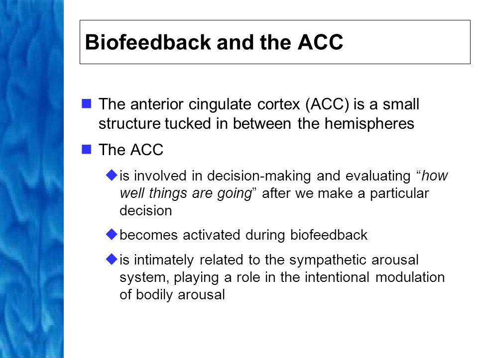 Using Biofeedback Primary interest has revolved around its ability to increase an individuals awareness of unconscious, automated behaviour Often individuals are unaware that they are in a constant state of arousal Constant state of arousal gives rise to elevated stress levels, and thus a wide range of different stress-related diseases