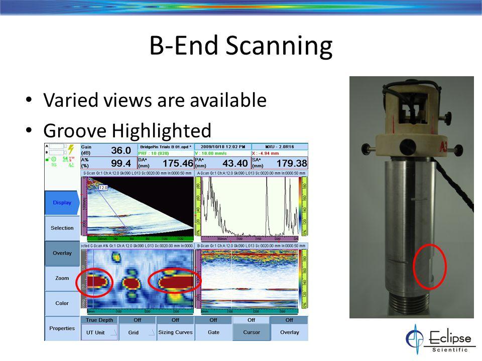 Bridge Pin Groove Evaluation ESBeam plot with overlay of data