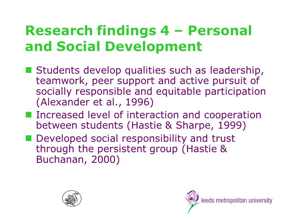 Research findings 5 – Student attitudes Development of teacher and student enthusiasm (Siedentop, 1994) Higher level of student engagement due to inbuilt accountability systems (Hastie, 2000; Wallhead & Ntoumanis, 2004) Team affiliation was attractive to students, who made investments in their persisting groups (MacPhail et al, 2004; Bennet & Hastie, 1997; Hastie & Carlson, 1998)
