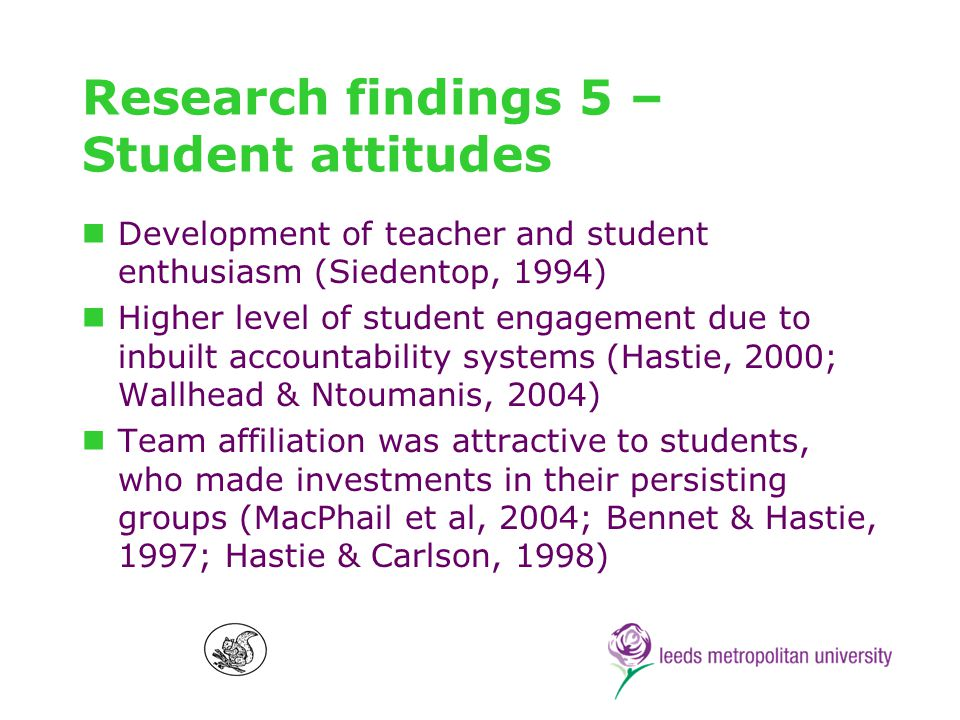 Research findings 6 – problematising SE Peer leadership is problematic in terms of content knowledge development and securing equitable participation (Hastie, 2000) SE challenged social hierarchies among students to provide opportunities to transform PE cultures (ODonovan, 2003; Brunton, 2003) Opportunities for and resistance to teaching about social justice (Kinchin & OSullivan, 2003; Ennis et al, 1998) and potential for inclusivity (Kinchin, 2001) High compatibility between students conceptions of sport and experiences of SE showing possibility of transfer of learning (MacPhail et al, 2003)