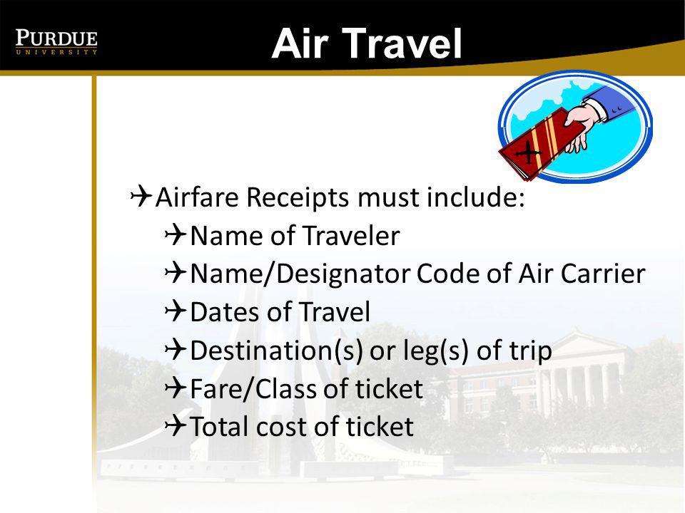 Air Travel Airfare Receipts Passenger Coupon, Itinerary, E-ticket Receipt or combination of Required Information may be used as payment documentation (unless under $75) If an internet booking tool, such as Expedia, is used be sure to print the confirmation of payment, not the quote.